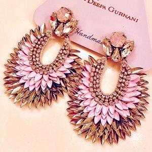 NWT Deepa Gurnani Crystal Lotus Petal Chandeliers